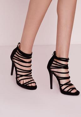 Extreme Strappy Heeled Sandals Black