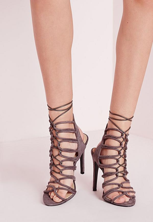 Rope Lace Up Heeled Sandals Grey