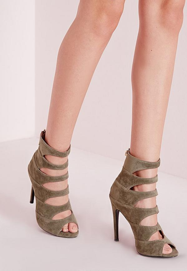 Cut Out Detail Heeled Sandals Khaki