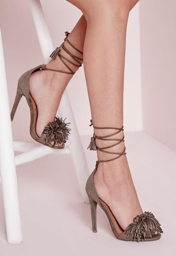 Tassel Detail Lace Up Heeled Sandals Taupe