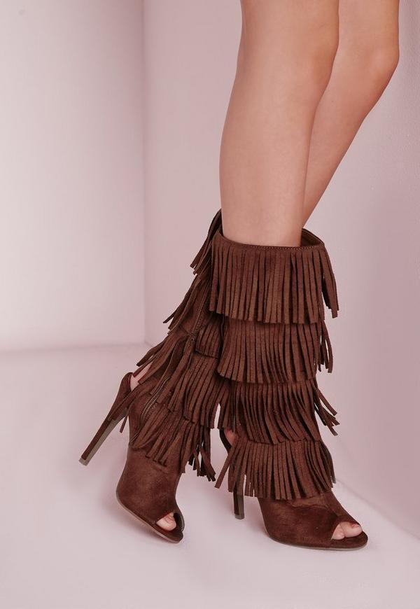 Tassel Peep Toe Heeled Boots Tan