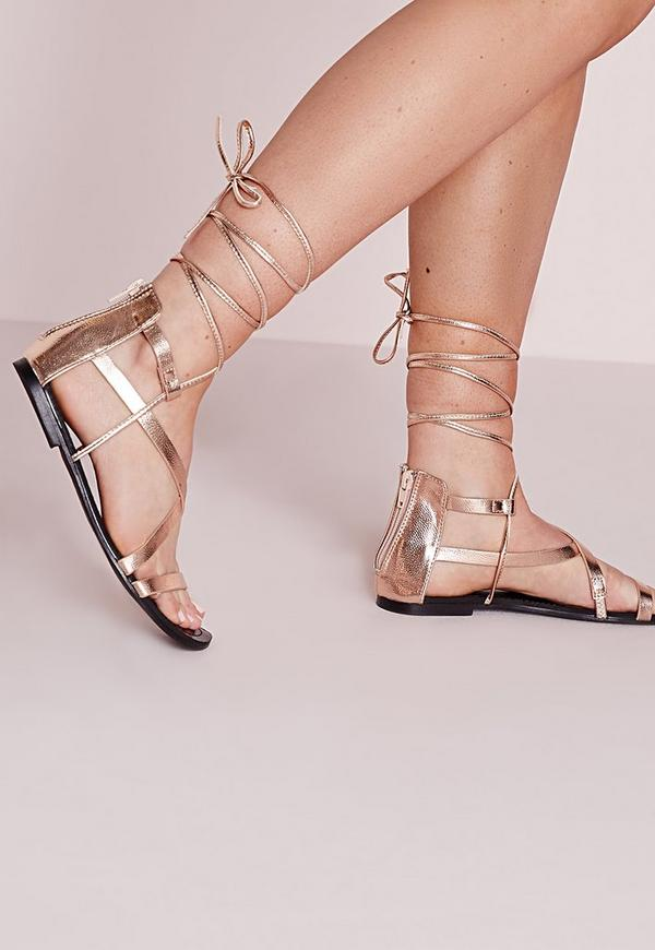 Strappy Lace Up Flat Sandals Rose Gold