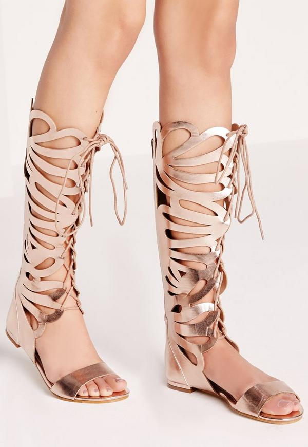Laser Cut Lace Up Knee High Flat Sandal Rose Gold