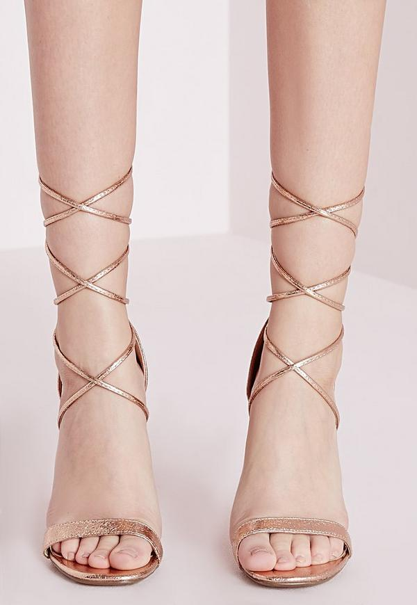 Lace Up Barely There Heeled Sandals Rose Gold | Missguided