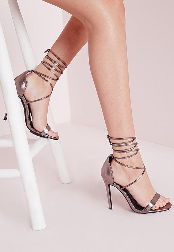 Lace Up Barely There Heeled Sandals Silver