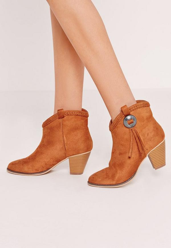 Chelsea Pleated Top Western Ankle Boot Tan