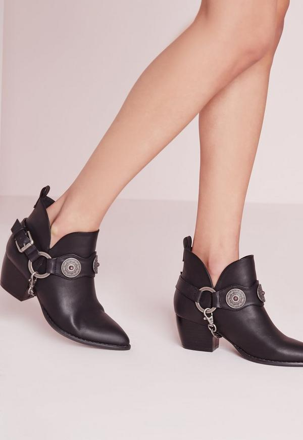 Chain Strap Western Ankle Boot Black