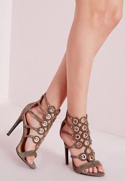 Eyelet Detail Caged Heeled Gladiator Sandals Khaki