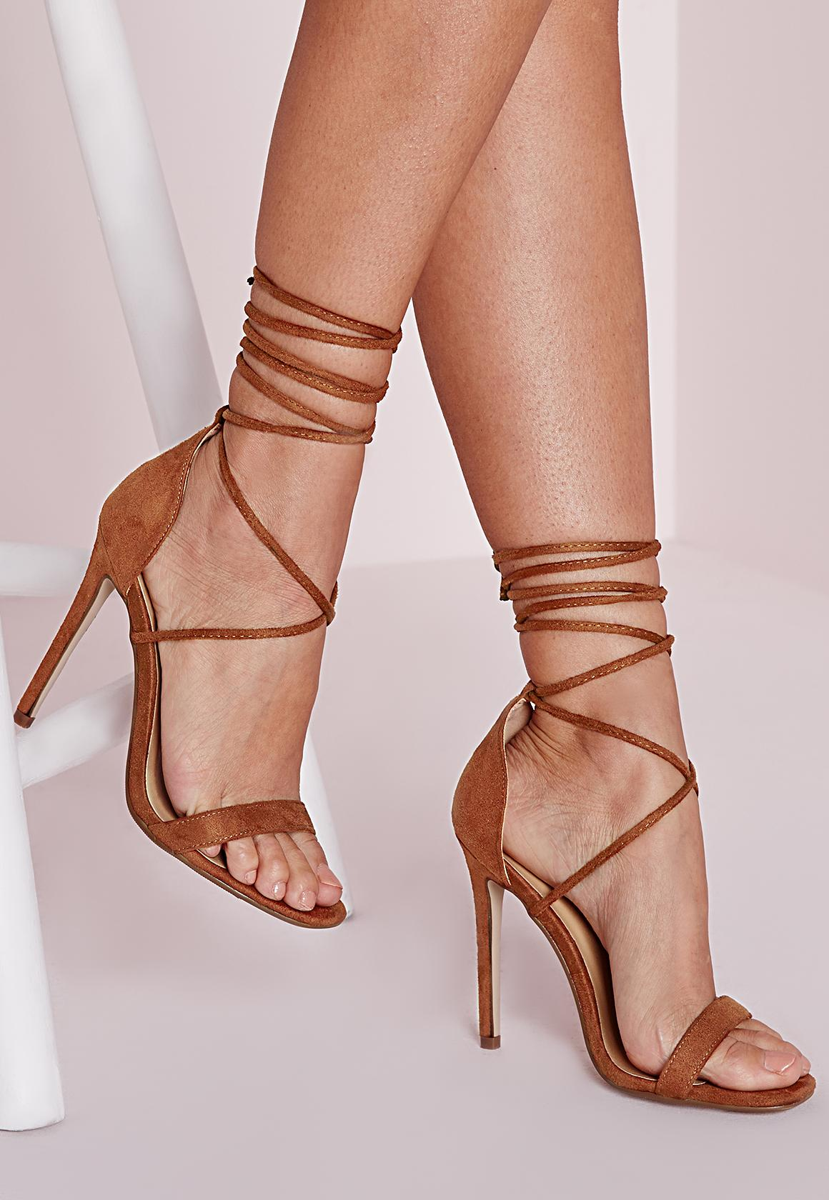 Lace Up Barely There Heeled Sandals Tan - Shoes - High Heels ...