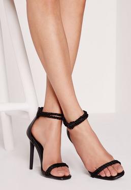 Knotted Ankle Strap Heeled Sandal Black