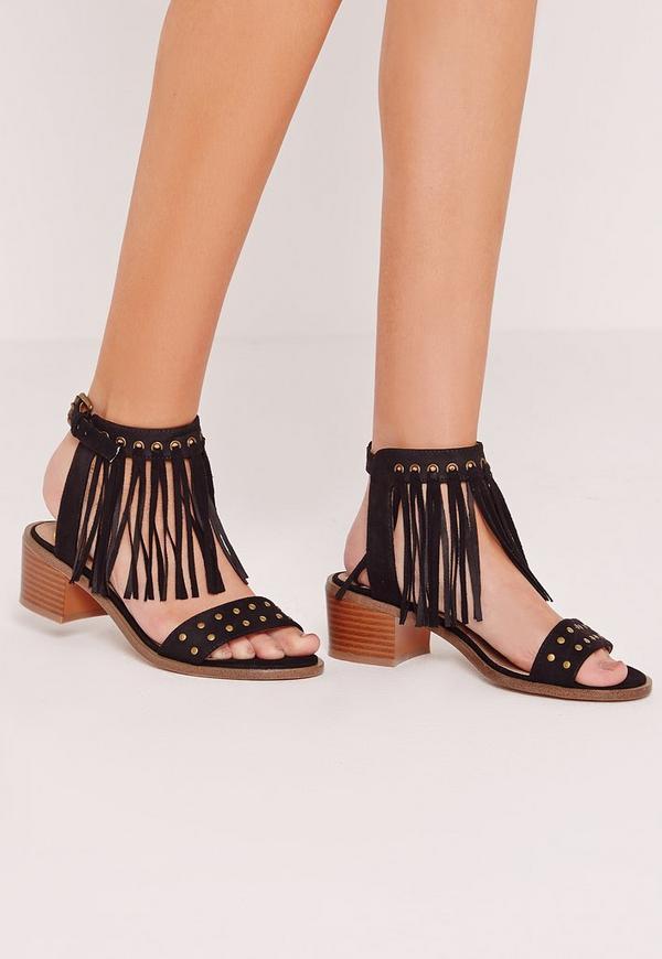 Low Block Heel Tassel Sandal Black