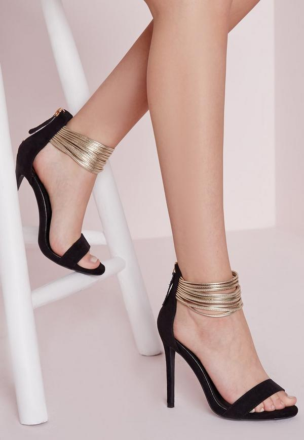Metallic Ankle Strap Barely There Black