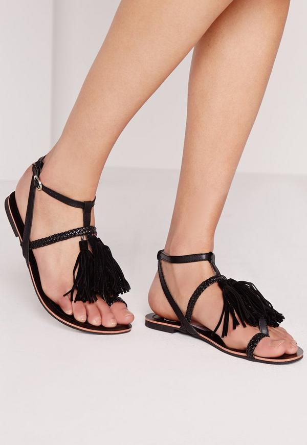 Tassel Front Plait Detail Sandal Black