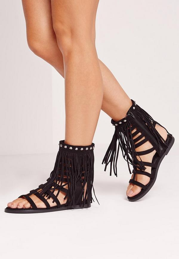 Faux Suede Tassel Ankle Gladiator Sandals Black