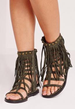 Tassel Ankle Cuff Flat Gladiator Sandals Khaki