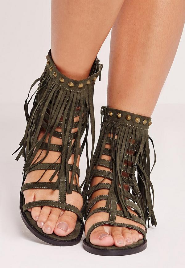Tassel Ankle Cuff Flat Gladiator Sandals Khaki Missguided