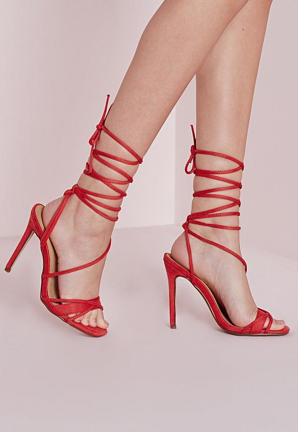 Cross Lace Up Barely There Sandal Coral