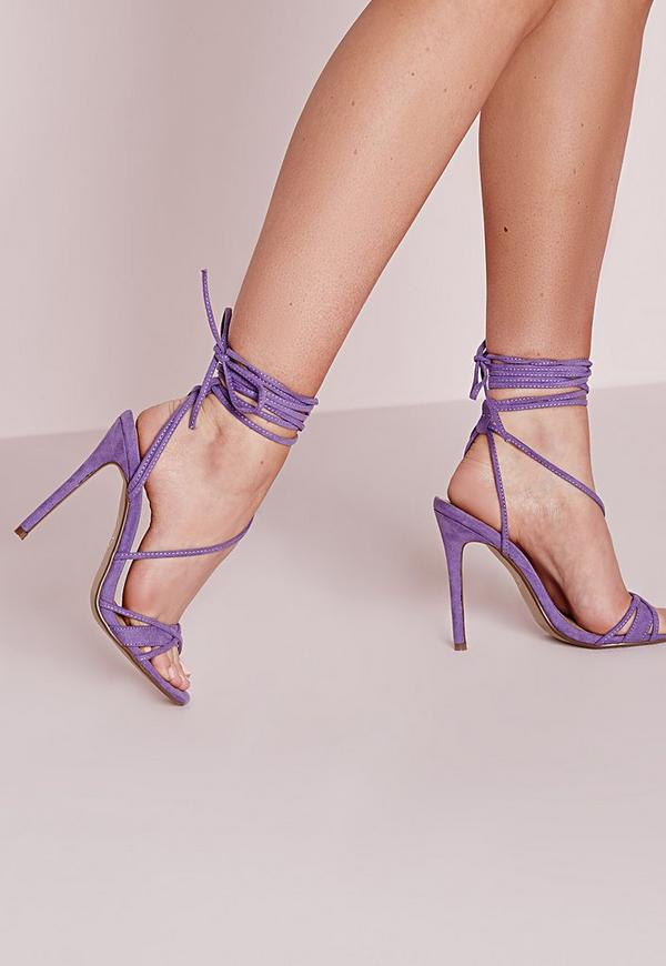 Cross Lace Up Barely There Heeled Sandals Lilac