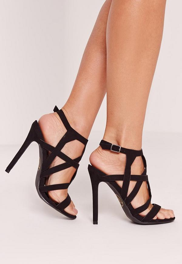 Sculptural Caged Heeled Sandals Black