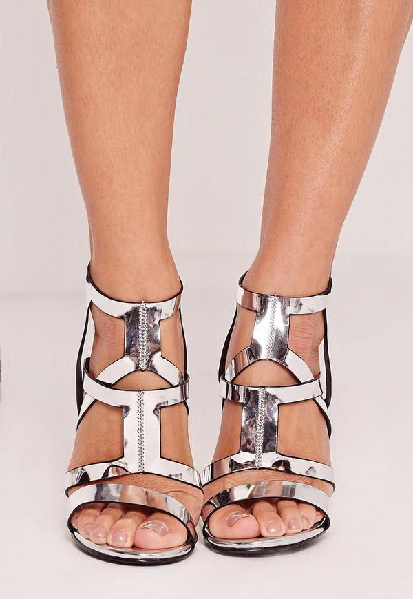 Sculptural Caged Heeled Sandals Silver | Missguided