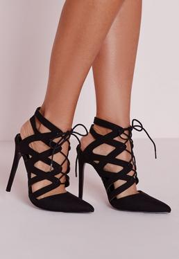 Black Geometric Lace Up Court Shoes