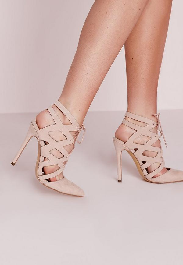 Nude Geometric Lace Up Court Shoes | Missguided