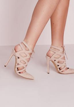 Nude Geometric Lace Up Pumps