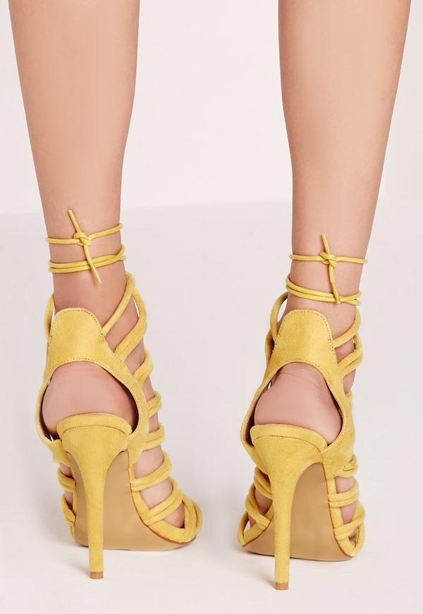 Rope Detail Lace Up Heeled Sandals Yellow - Missguided
