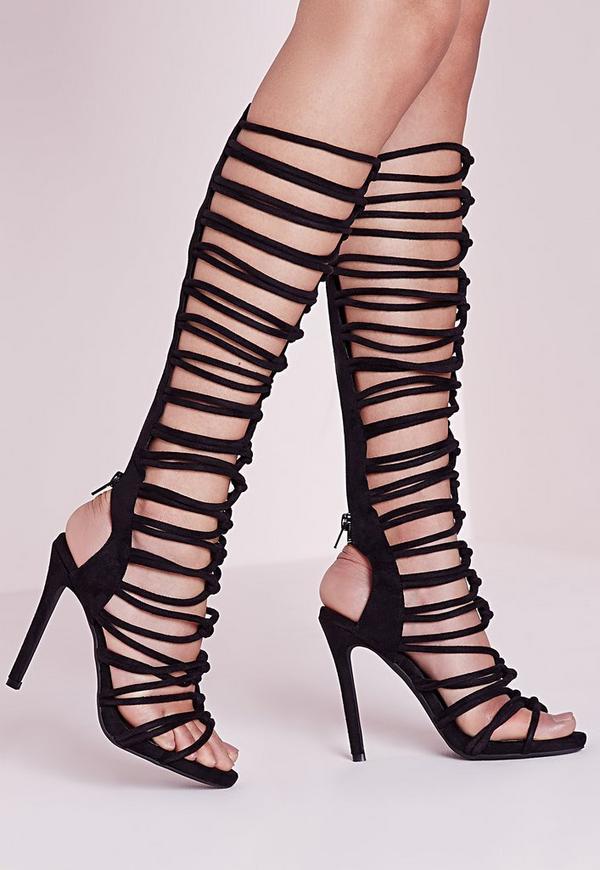 Knot Strap Knee High Gladiator Sandals Black