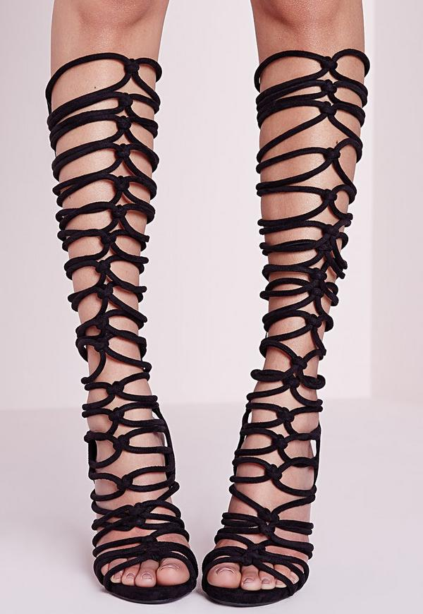Knot Strap Knee High Gladiator Sandals Black | Missguided