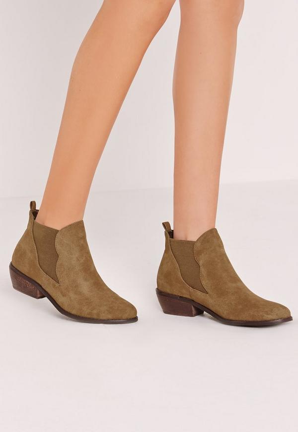 Khaki Faux Suede Chelsea Ankle Boots