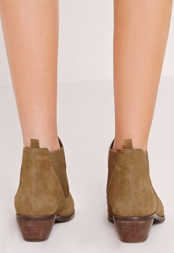 khaki faux suede chelsea ankle boots missguided