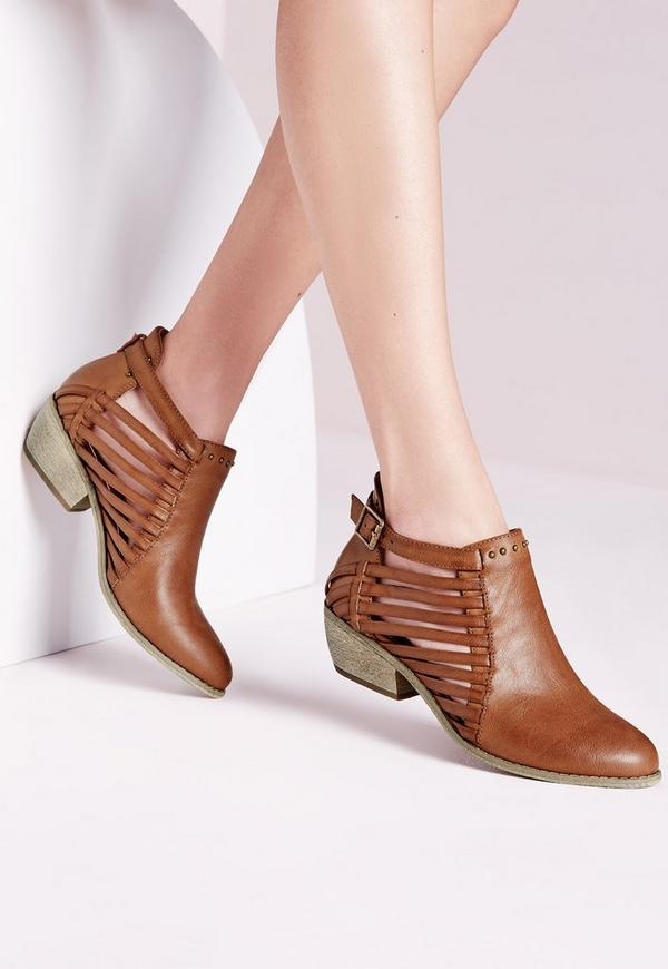 Strappy Cut Out Ankle Boot Tan