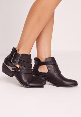 western buckle ankle boots