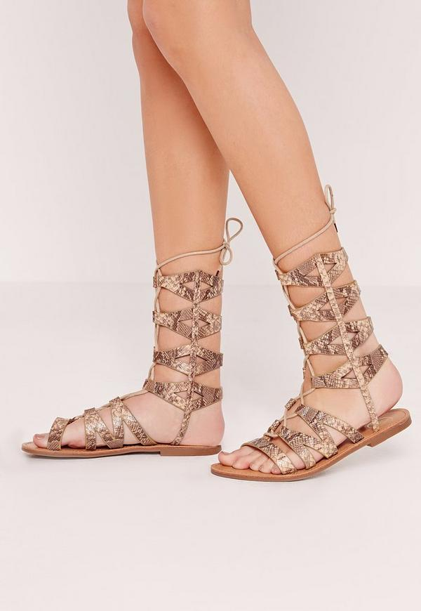 Laser Cut Lace Up Flat Sandal Nude
