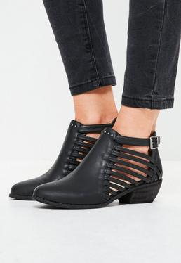 Strappy Cut Out Ankle Boots Black
