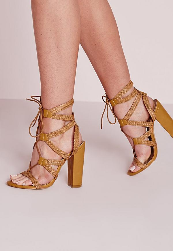 Plaited Lace Up Block Heel Sandals Yellow