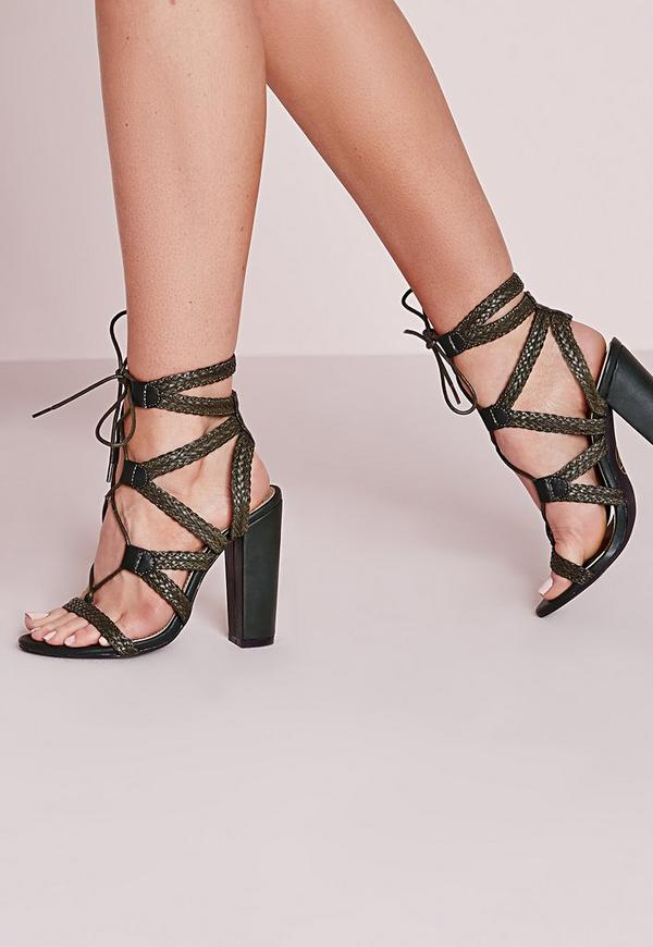 Plaited Lace Up Block Heel Sandal Khaki