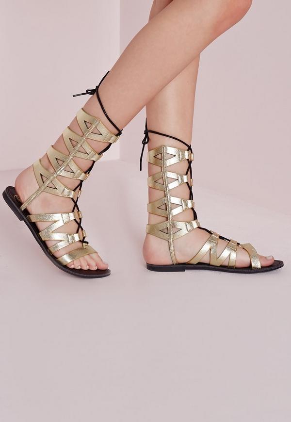 Laser Cut Mid Calf Lace Up Flat Sandal Gold