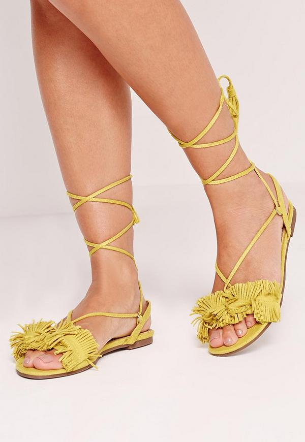 Tassel Front Flat Sandal Yellow