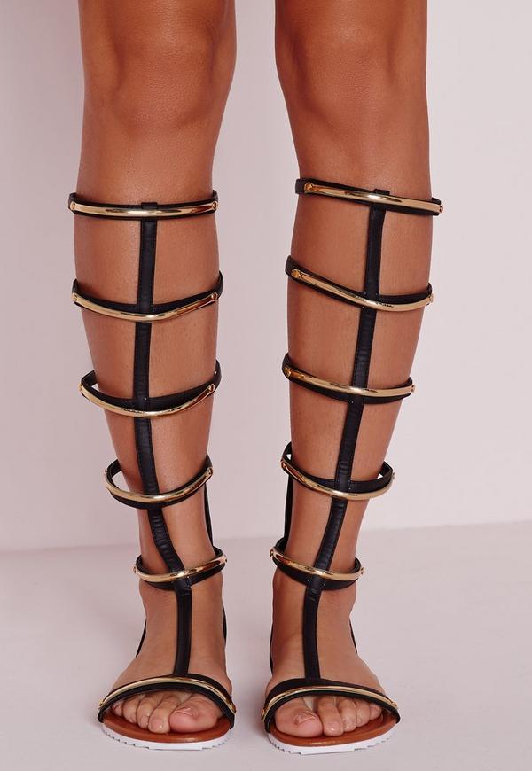 Gold Trim Knee High Flat Sandals