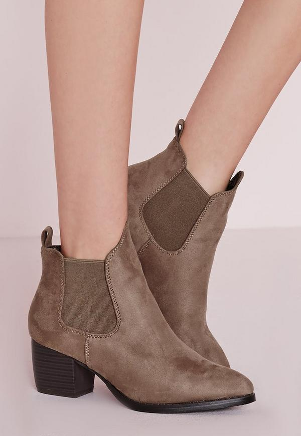 Low Heel Chelsea Boots Taupe