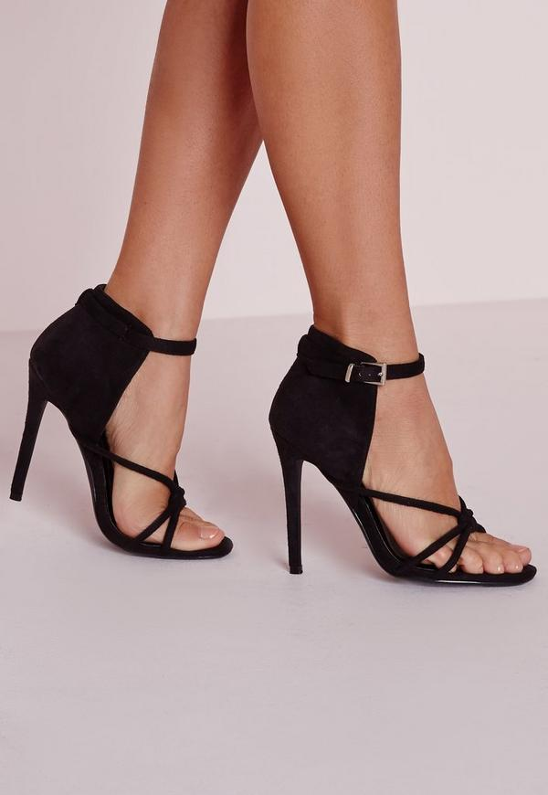 Knotted Front Heeled Sandal Black