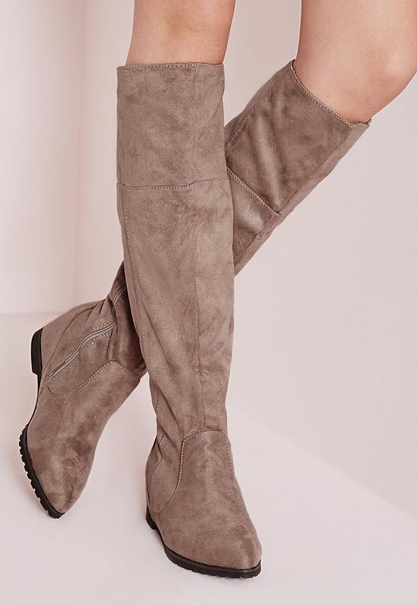 Pointed Toe Hidden Wedge Long Boots Taupe