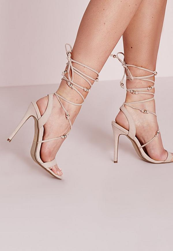 Embellished Lace Up Heeled Sandals Nude