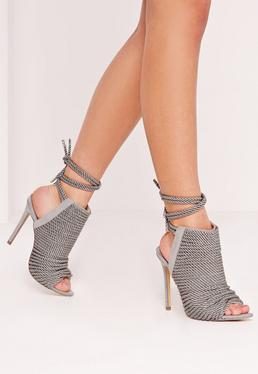 Bottines grises peep toe en cordes