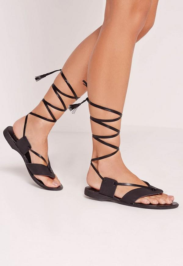 Toe Post Wrap Around Flat Sandal Black