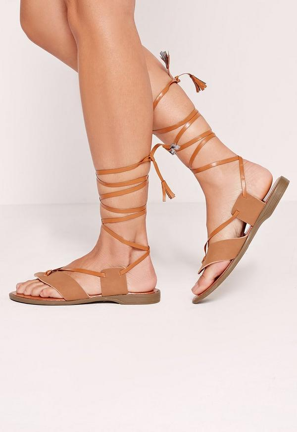 Toe Post Wrap Around Flat Sandal Tan