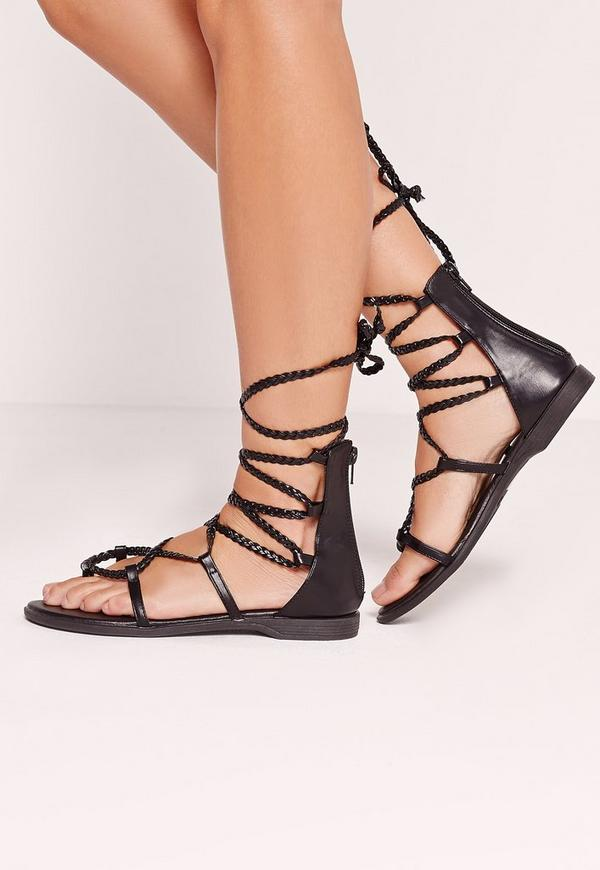 Pleated Strap Lace up Flat Sandal Black