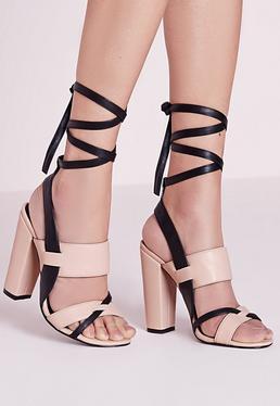 Contrast Ankle Tie Block Heel Sandals Nude